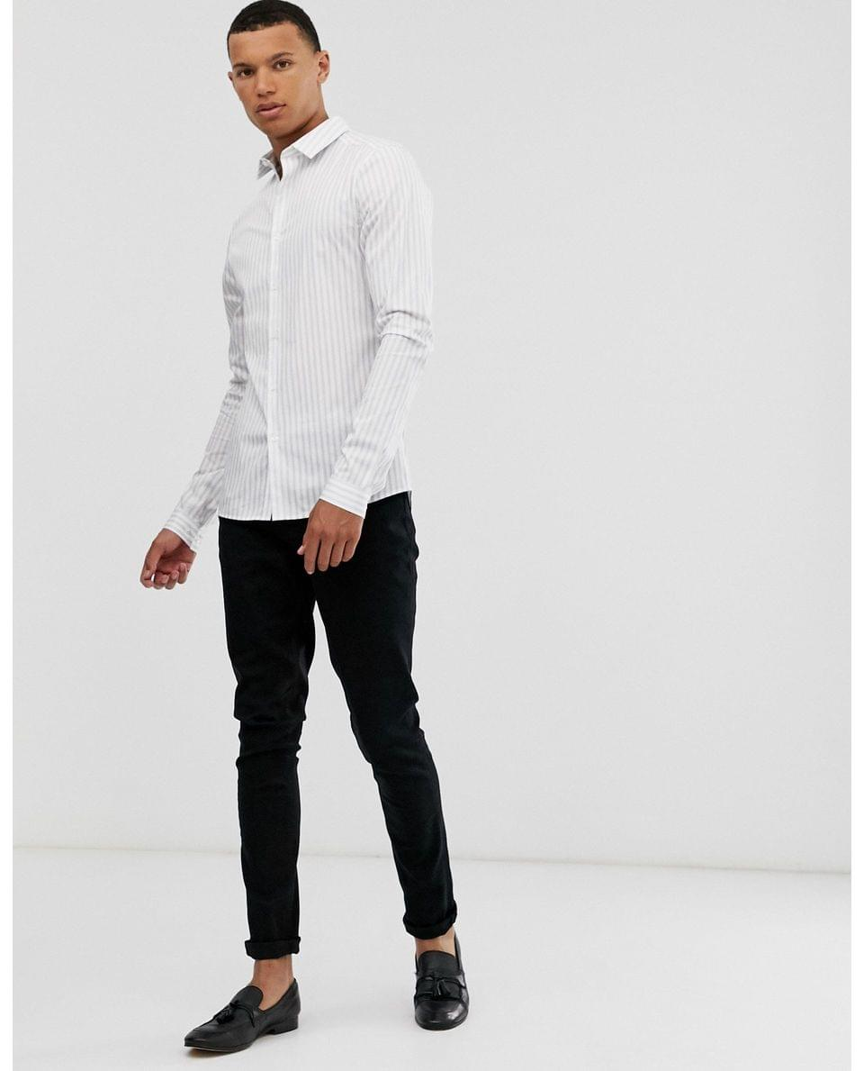 Men's Tall skinny fit stripe work shirt in white & navy