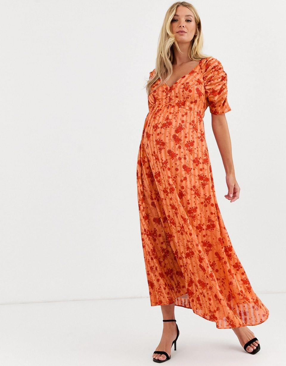 Women's Maternity button through maxi tea dress with ruched sleeves in floral print