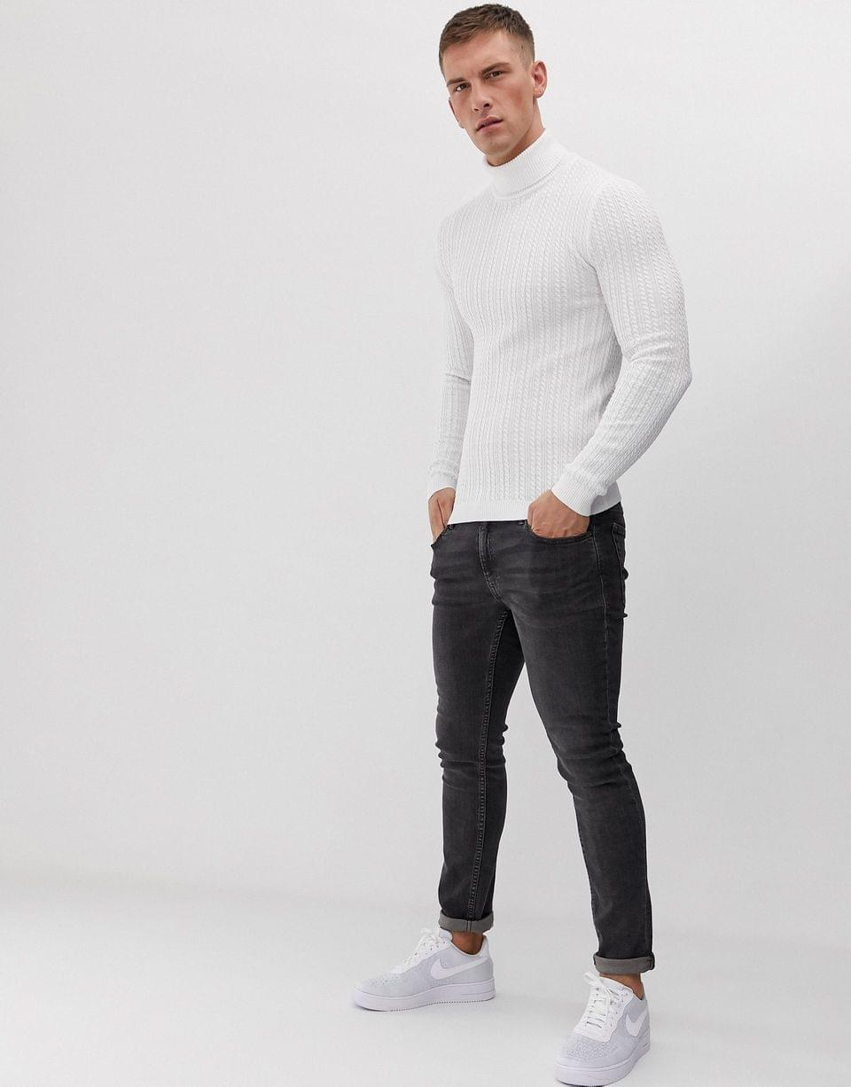 Men's muscle fit cable roll neck sweater in white