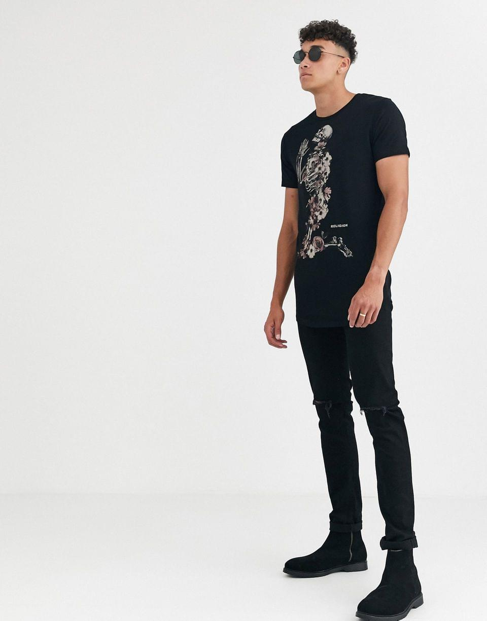Men's Religion tall curved hem t-shirt with floral print in black