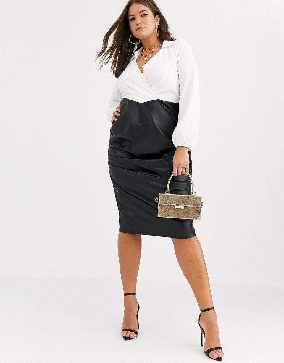 Women's Curve long sleeve shirt pu skirt midi dress