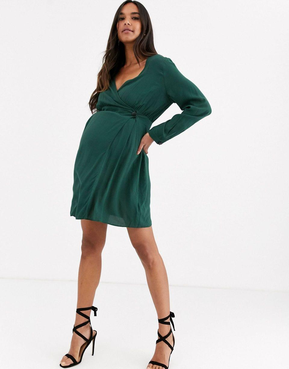 Women's Maternity casual wrap mini dress with long sleeves
