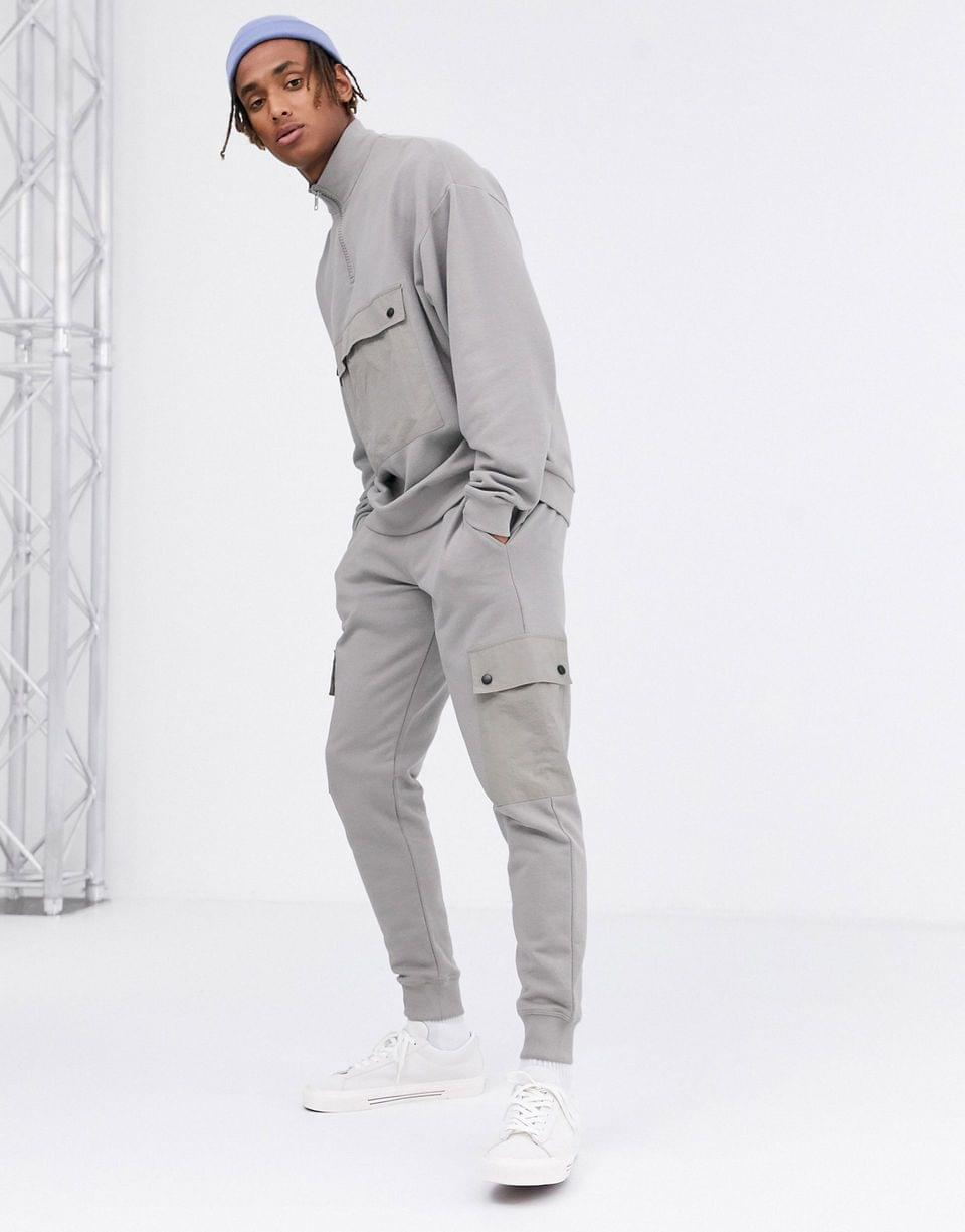 Men's two-piece sweatpants with utility cargo pockets in gray