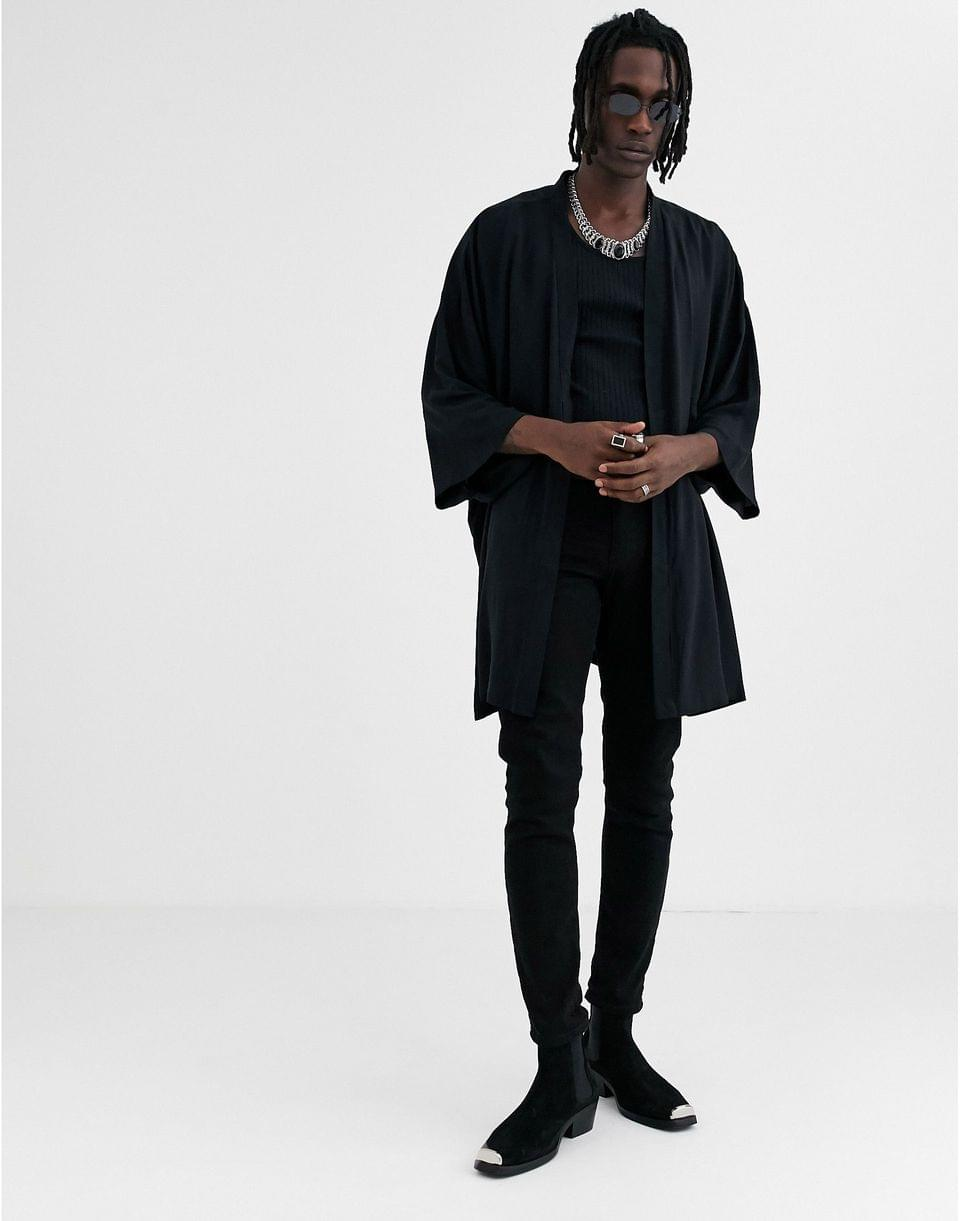 Men's viscose kimono in black