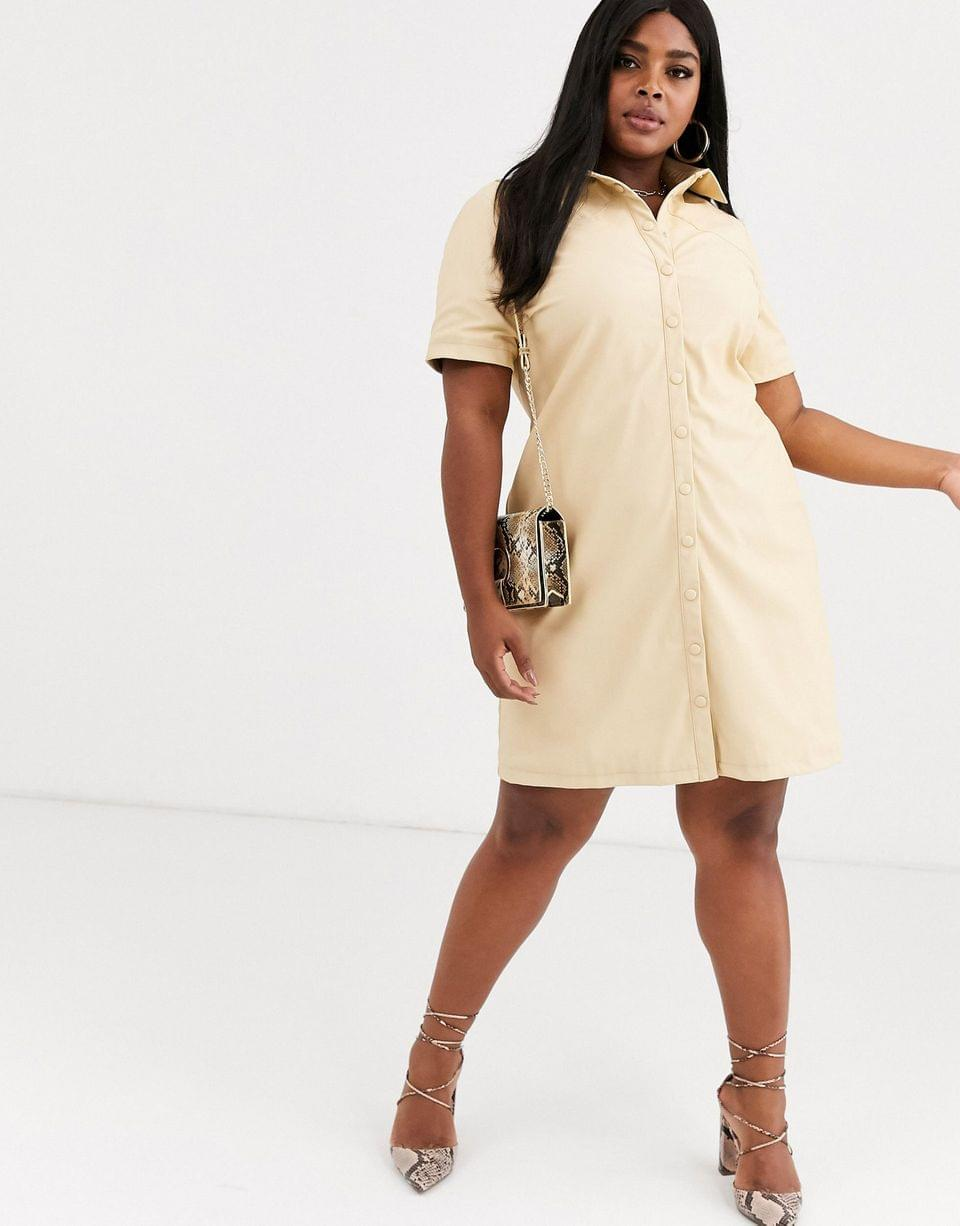 Women's Glamorous Curve shirt dress in soft faux leather