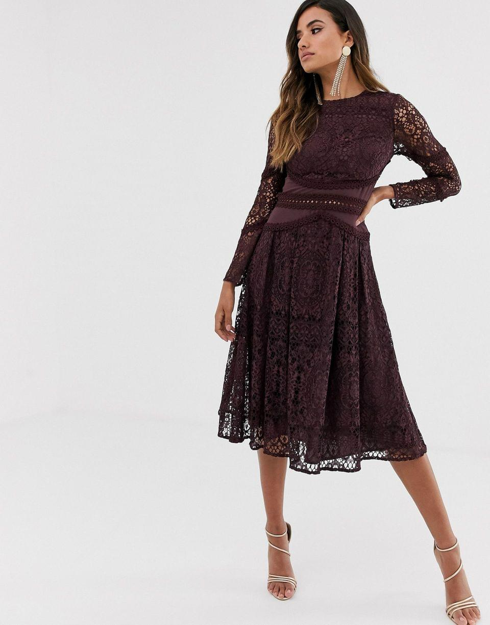 Women's long sleeve prom dress in lace with circle trim details