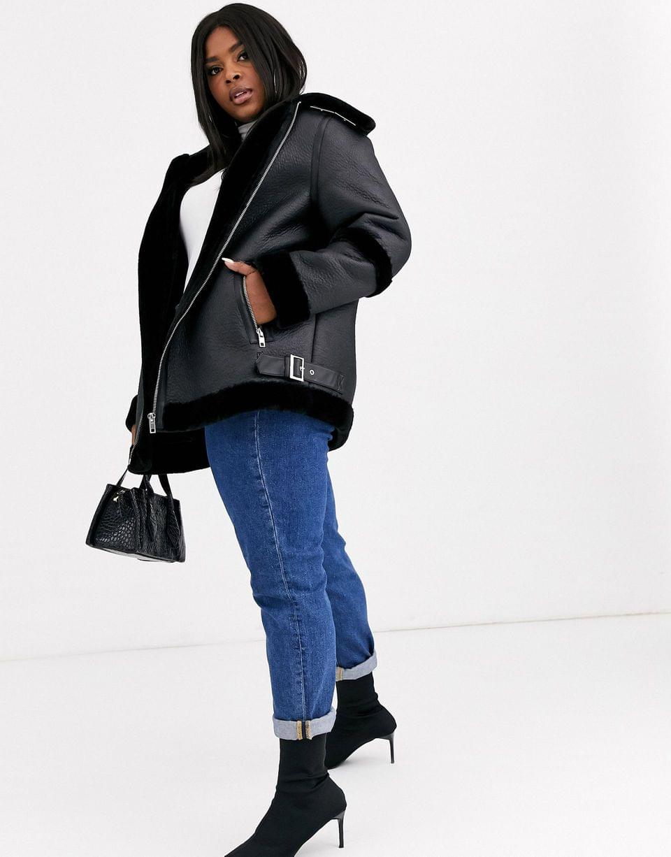 Women's Curve bonded aviator coat in black