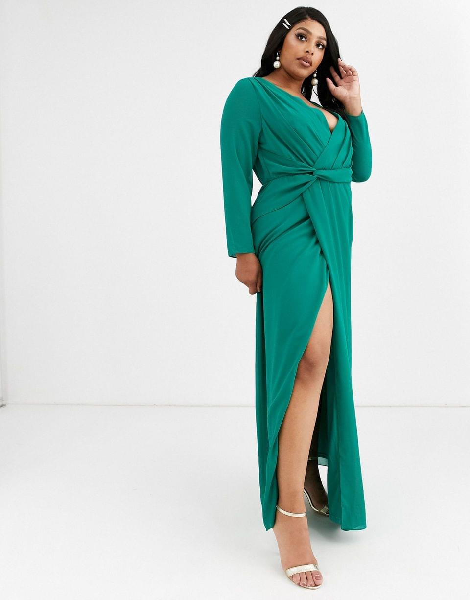 Women's TFNC Plus Bridesmaid twist knot wrap maxi dress in green