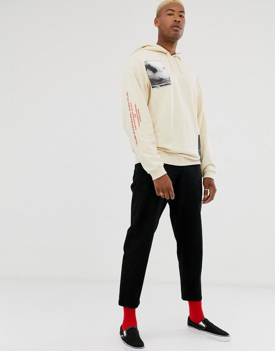 Men's Tall oversized hoodie in off white with multiplacement photographic print