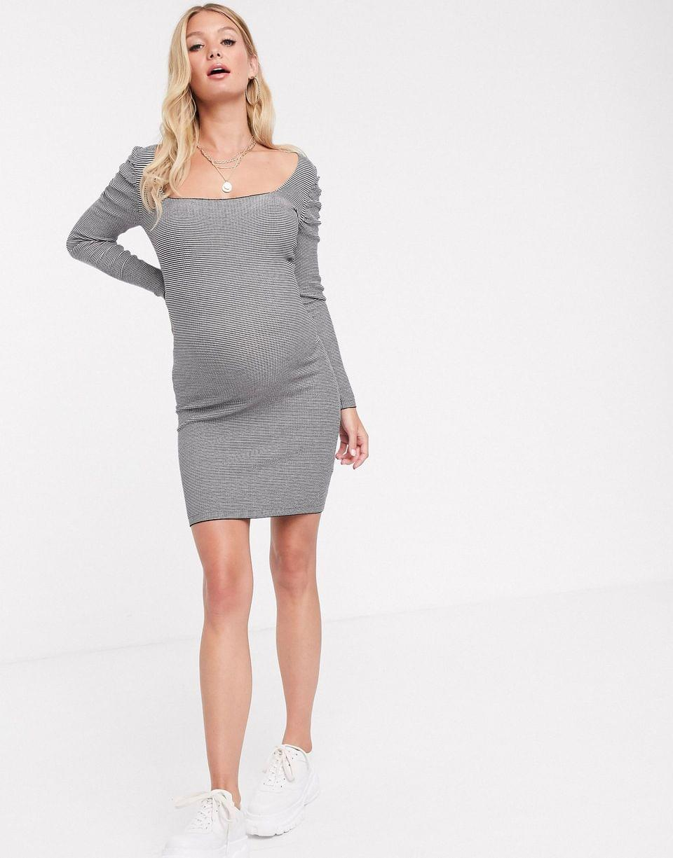 Women's Maternity square neck mini dress with volume sleeve