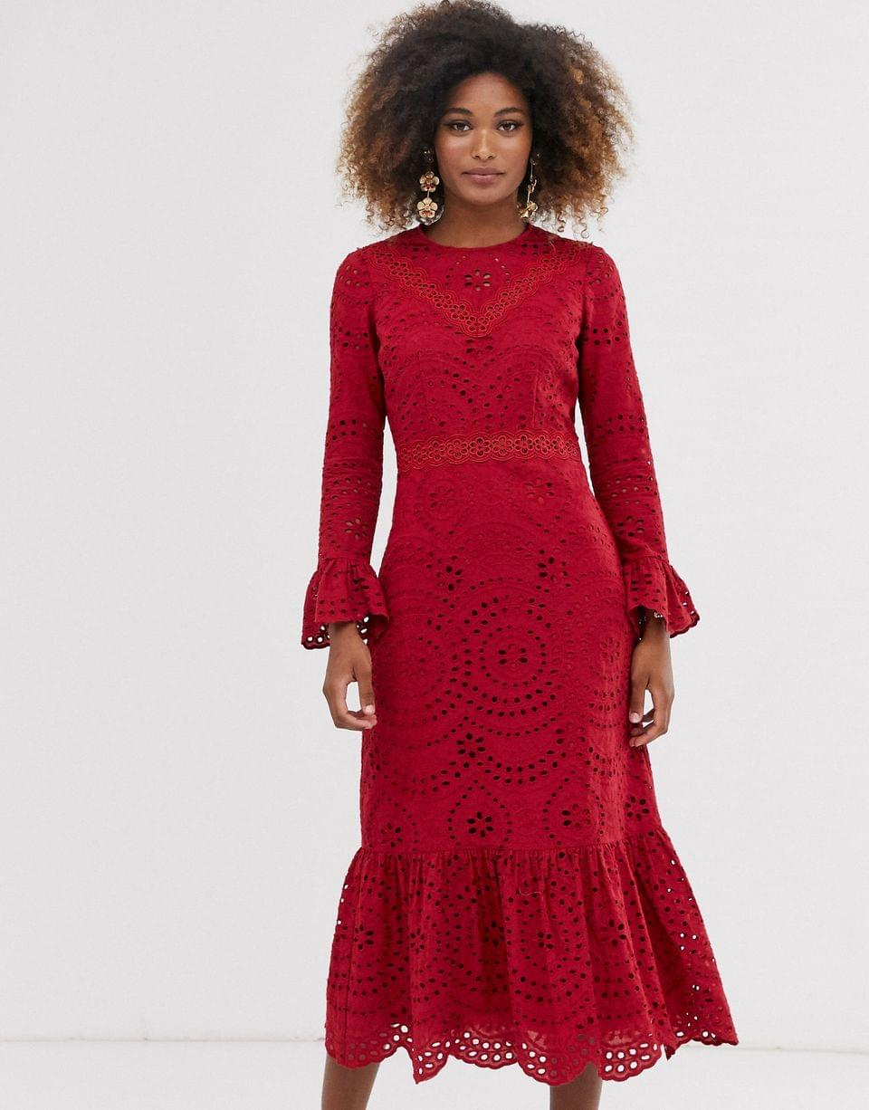Women's PREMIUM broderie maxi dress with pep hem and fluted sleeves