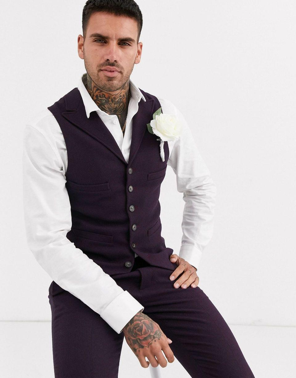 Men's wedding super skinny suit in wool mix twill in burgundy