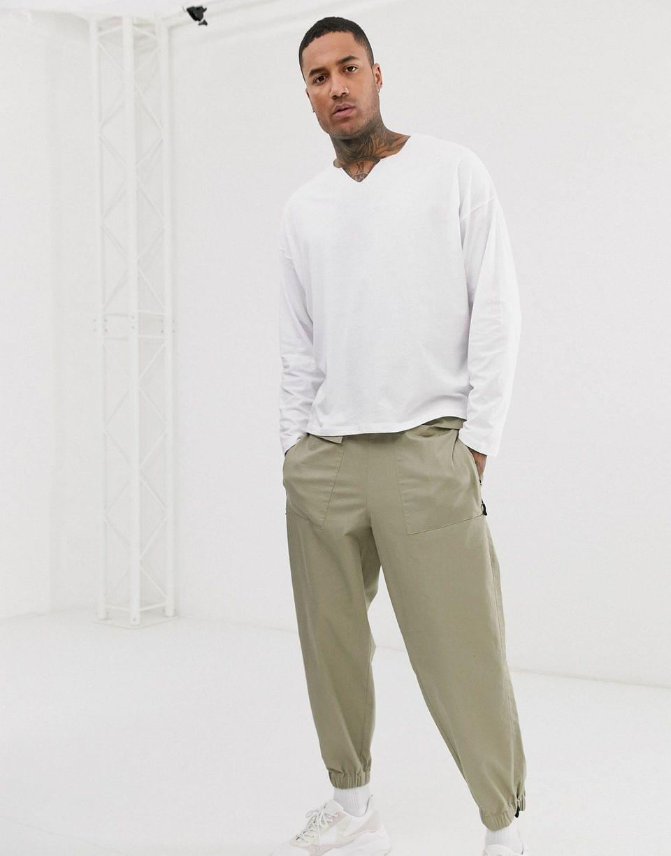 Men's oversized long sleeve t-shirt with raw notch neck in white