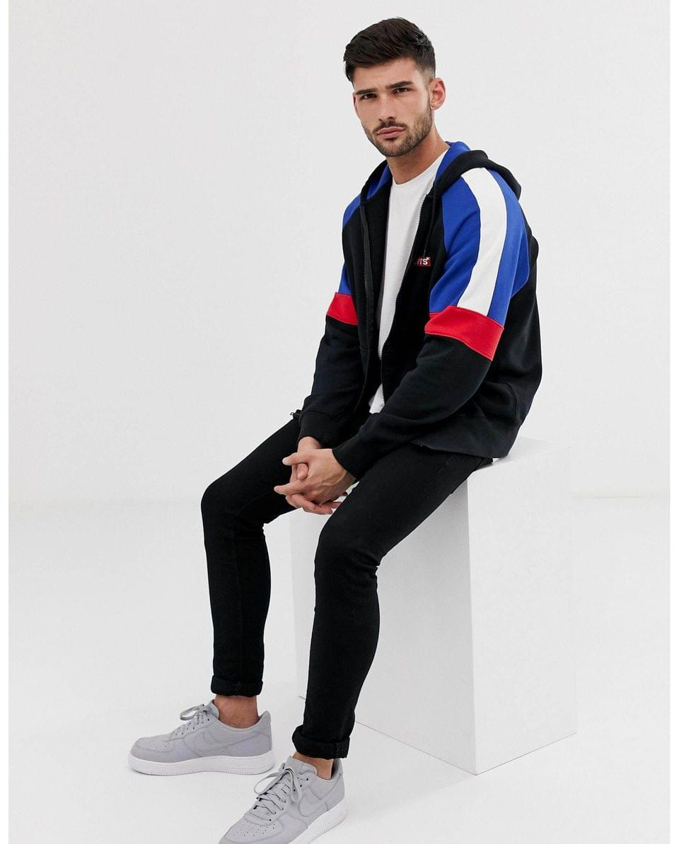 Men's Levi's small batwing logo cut & sew color block full zip hoodie in black/blue/red