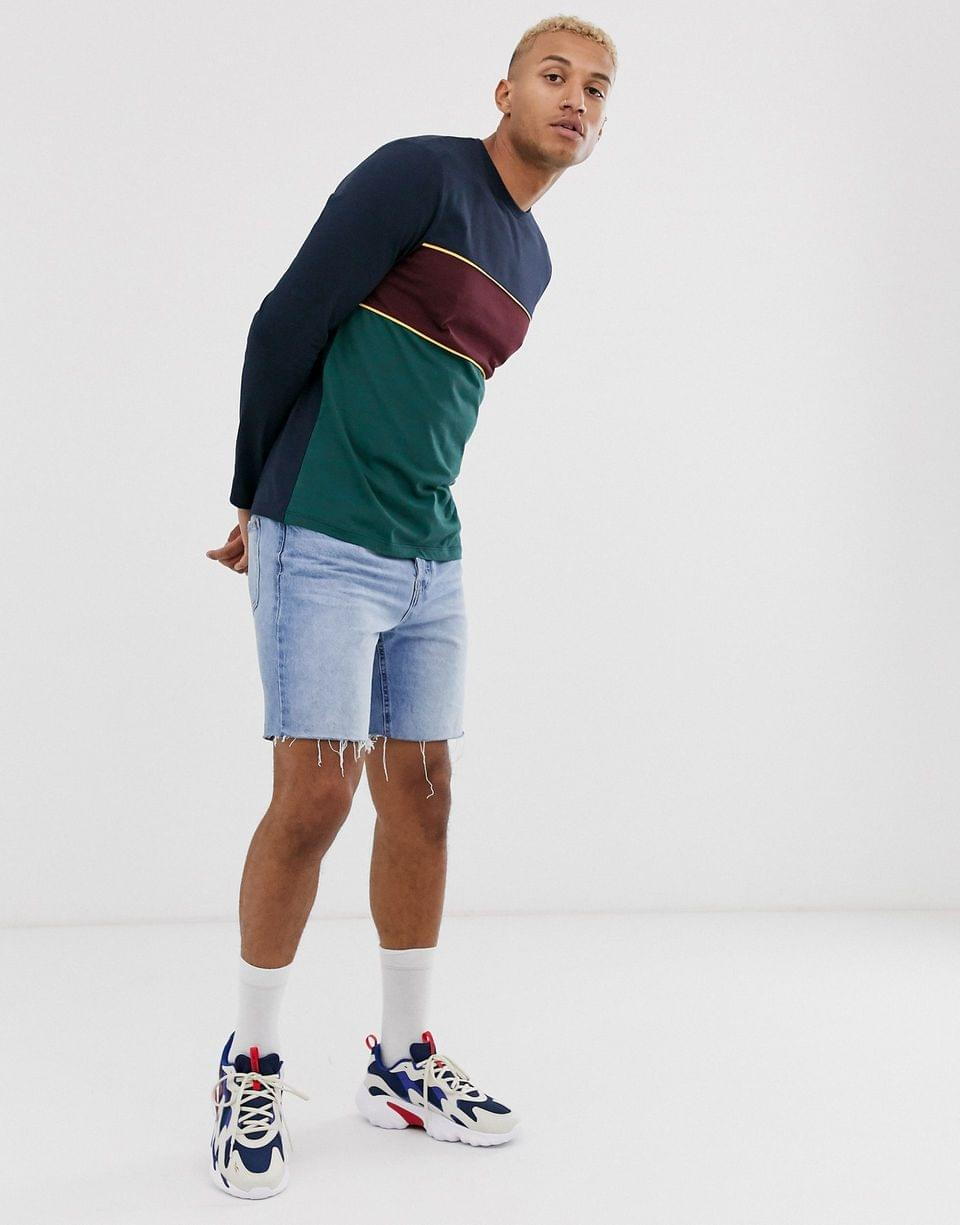 Men's long sleeve t-shirt with color block in navy