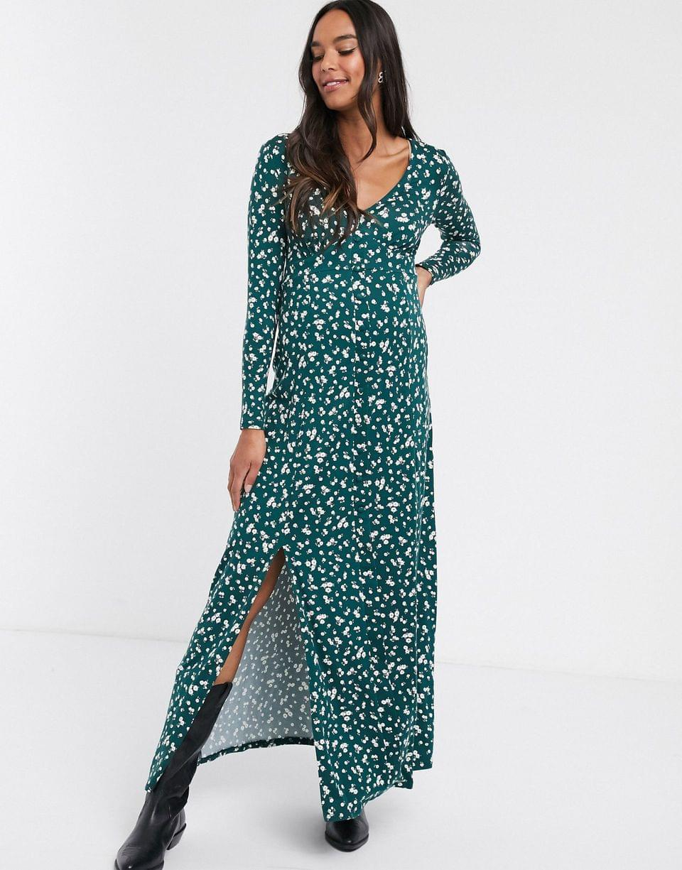 Women's Maternity long sleeve button through maxi tea dress with splits in ditsy print