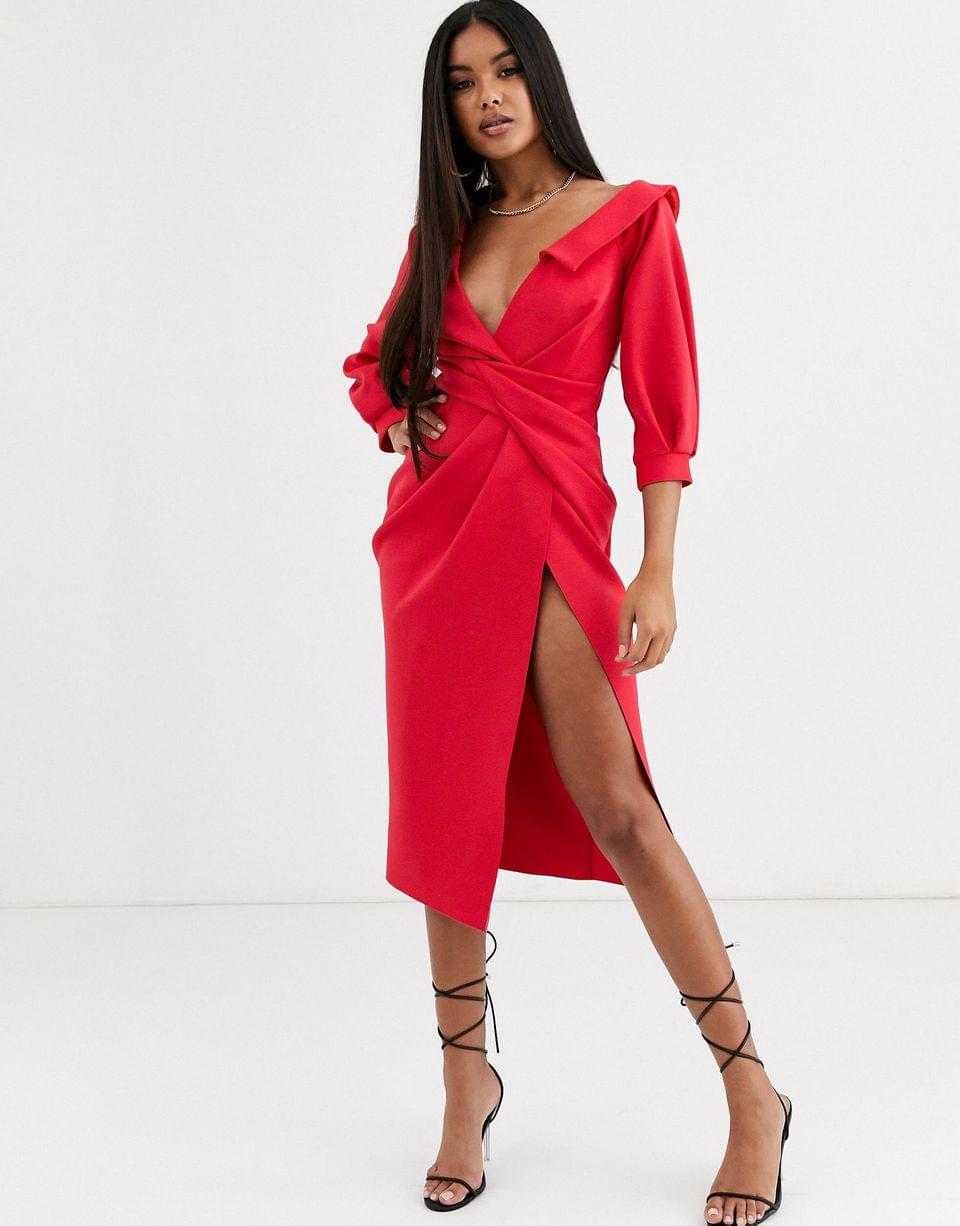 Women's sexy shoulder knot front midi dress