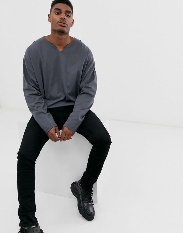 MEN oversized long sleeve t-shirt with raw notch neck in washed black