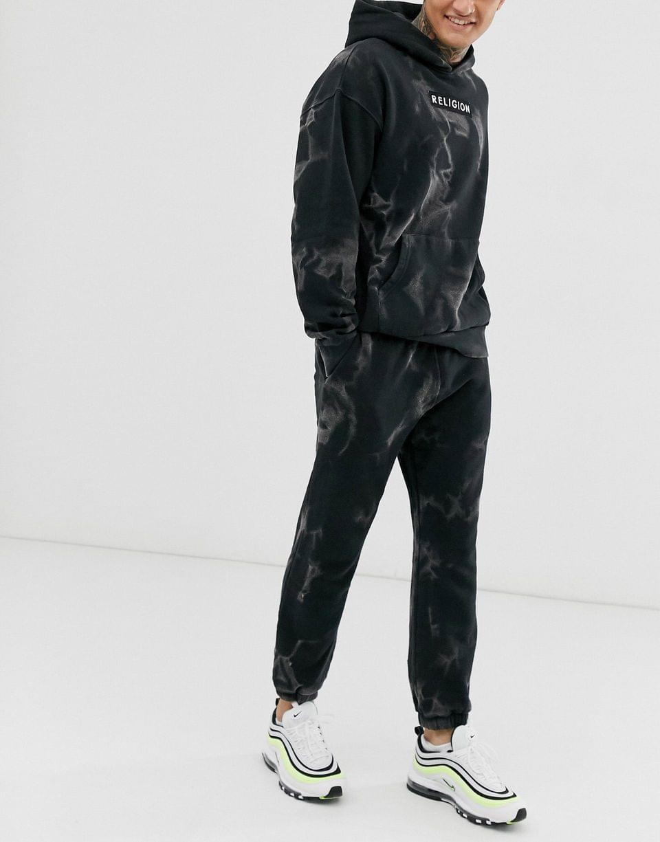 Men's Religion oversized tracksuit with dark smoke print in black