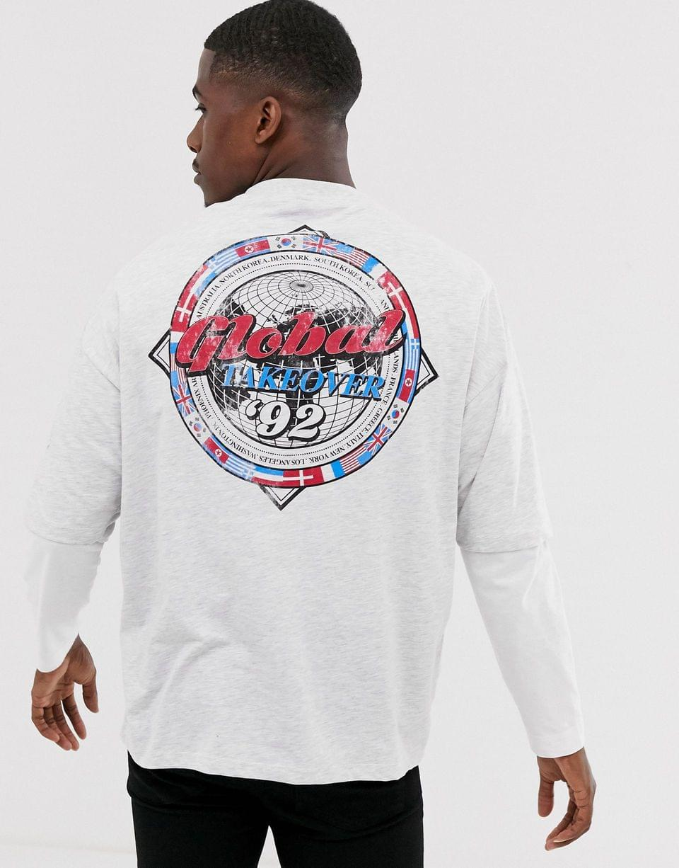Men's oversized longline t-shirt with front and back print in white marl
