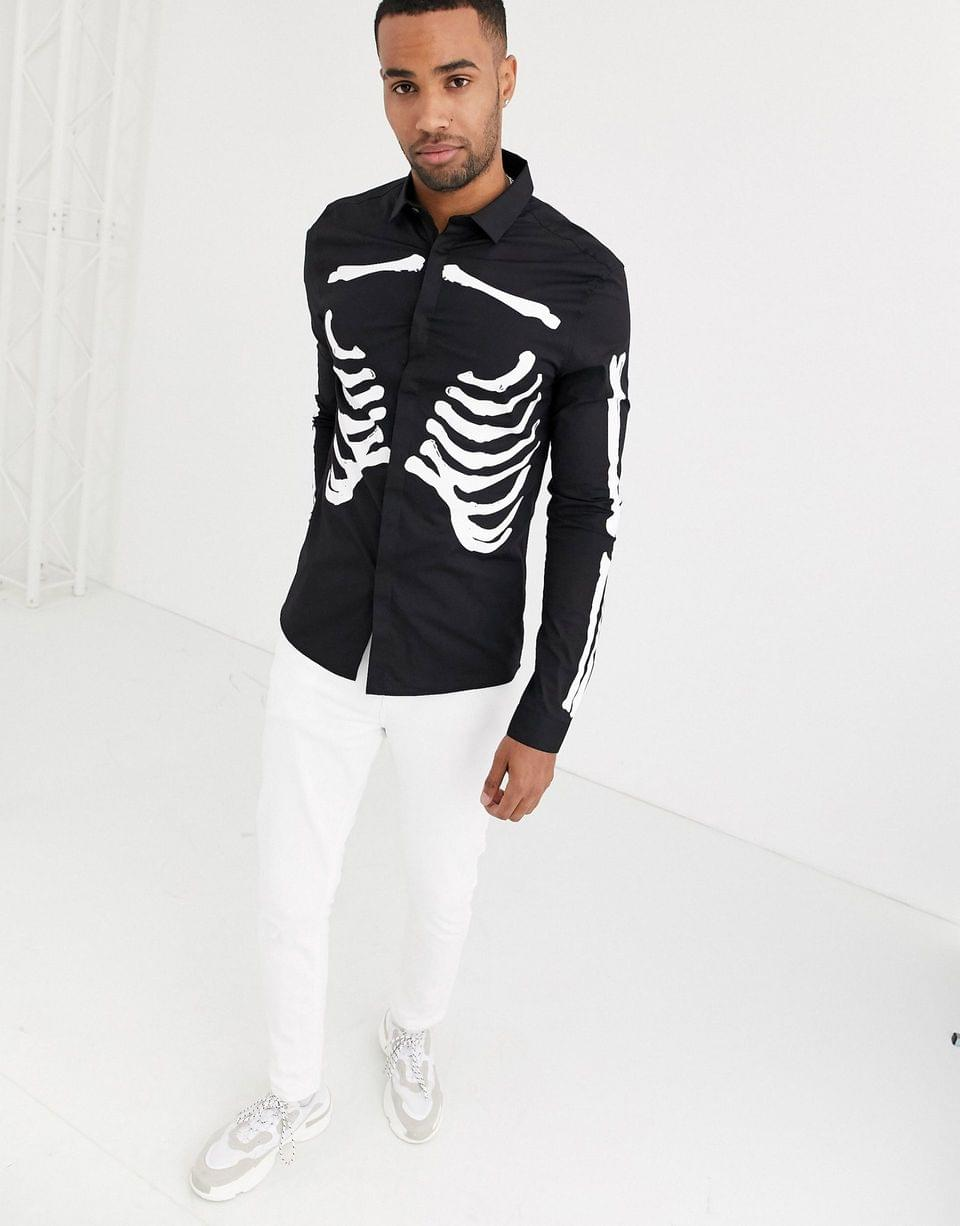 Men's Tall halloween skinny skeleton rib cage printed shirt in black