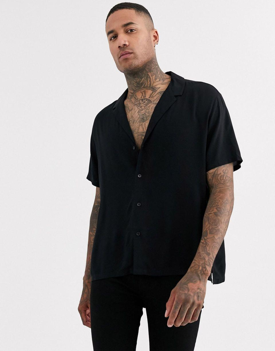 Men's relaxed fit black viscose shirt with low revere collar in black