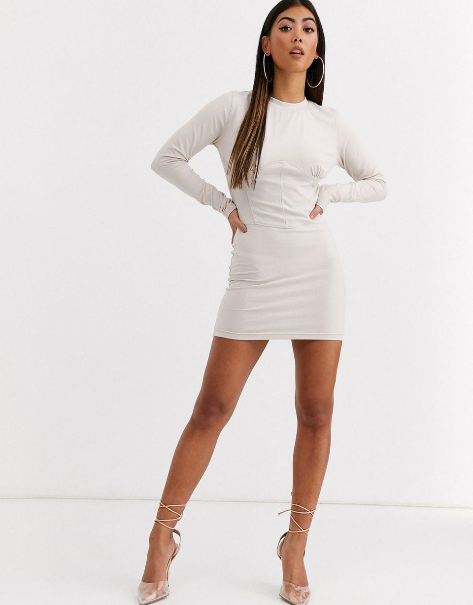 Women's Missguided Petite bodycon mini dress with corset detail in nude