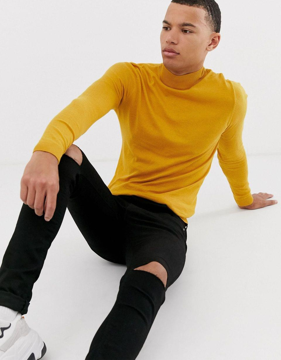 Men's Tall cotton turtleneck in mustard