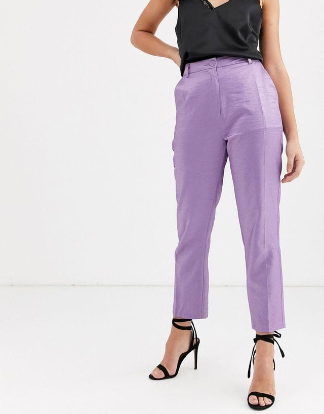 WOMEN Fashion Union tailored pants coord with pleat detail in metallic jacquard