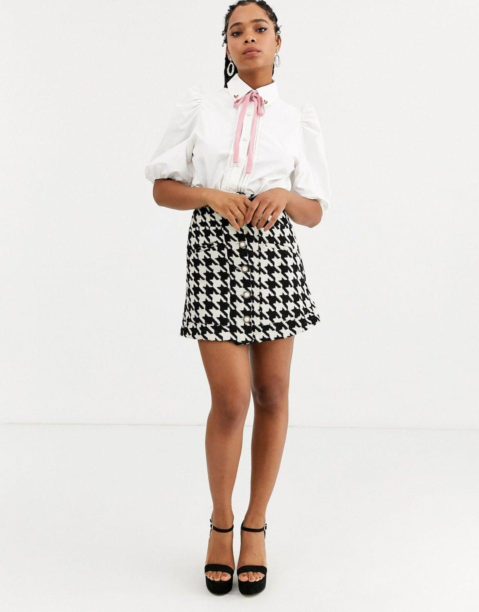 Women's Sister Jane puff sleeve shirt with heart collar in cotton