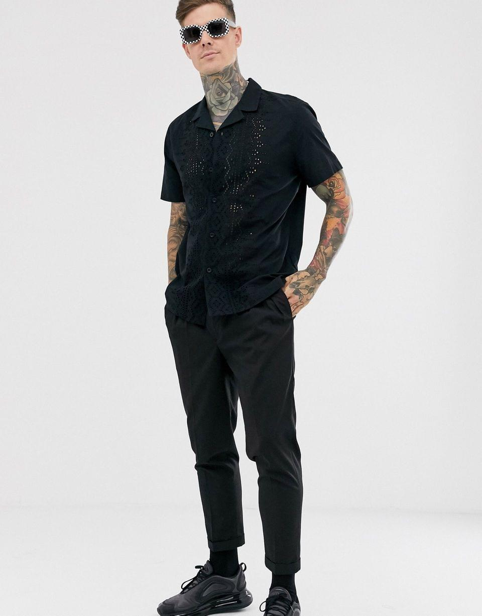Men's relaxed fit black cotton shirt with embroidery detail and revere collar