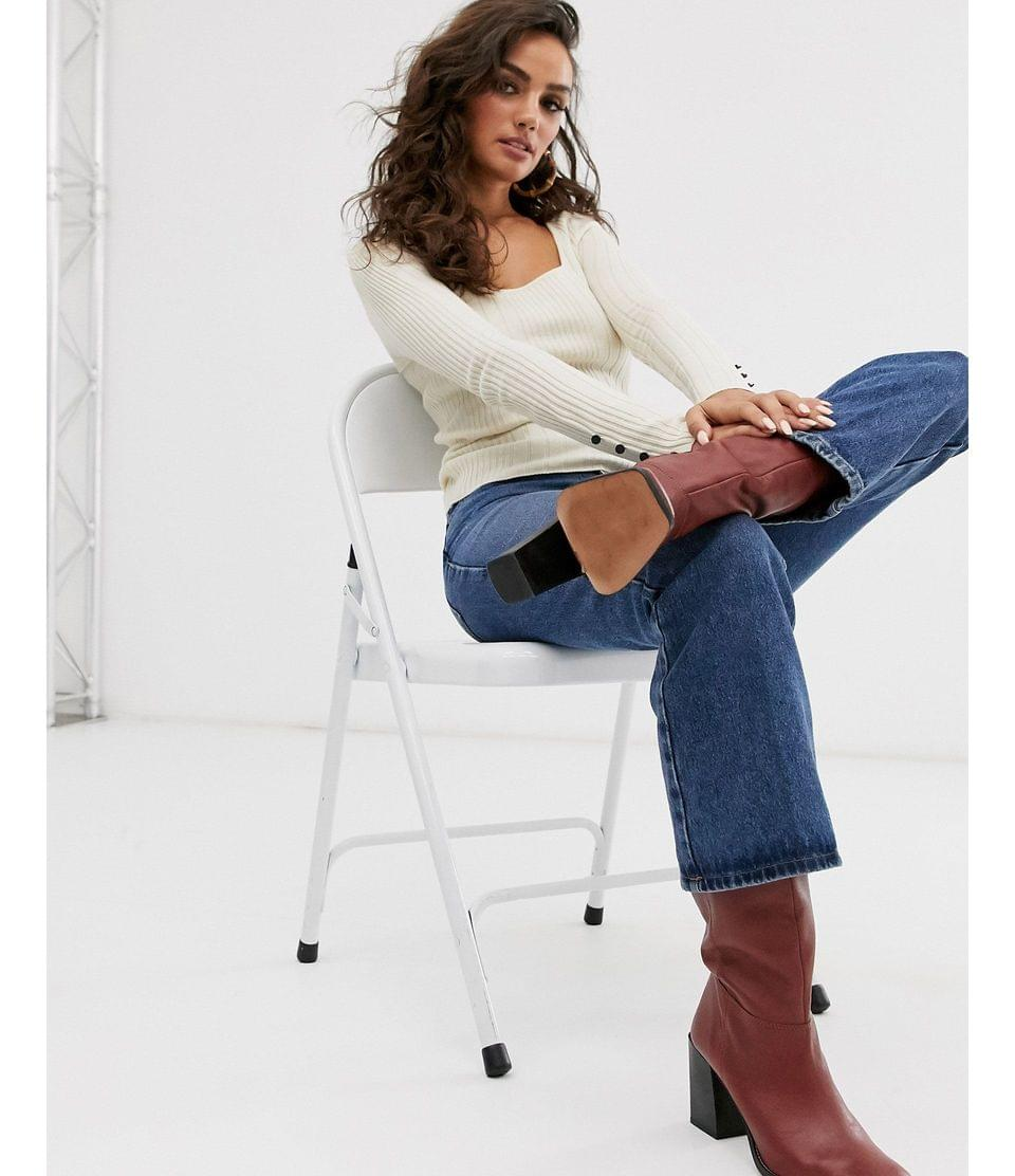 Women's fine rib sweater with square neck and button cuff detail