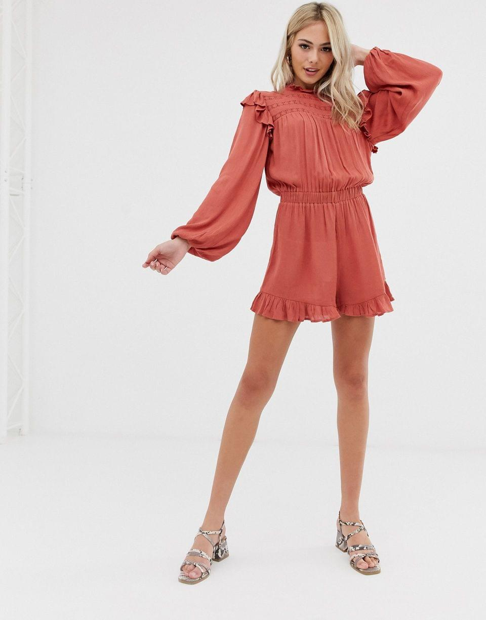 Women's romper with lace inserts and shirring