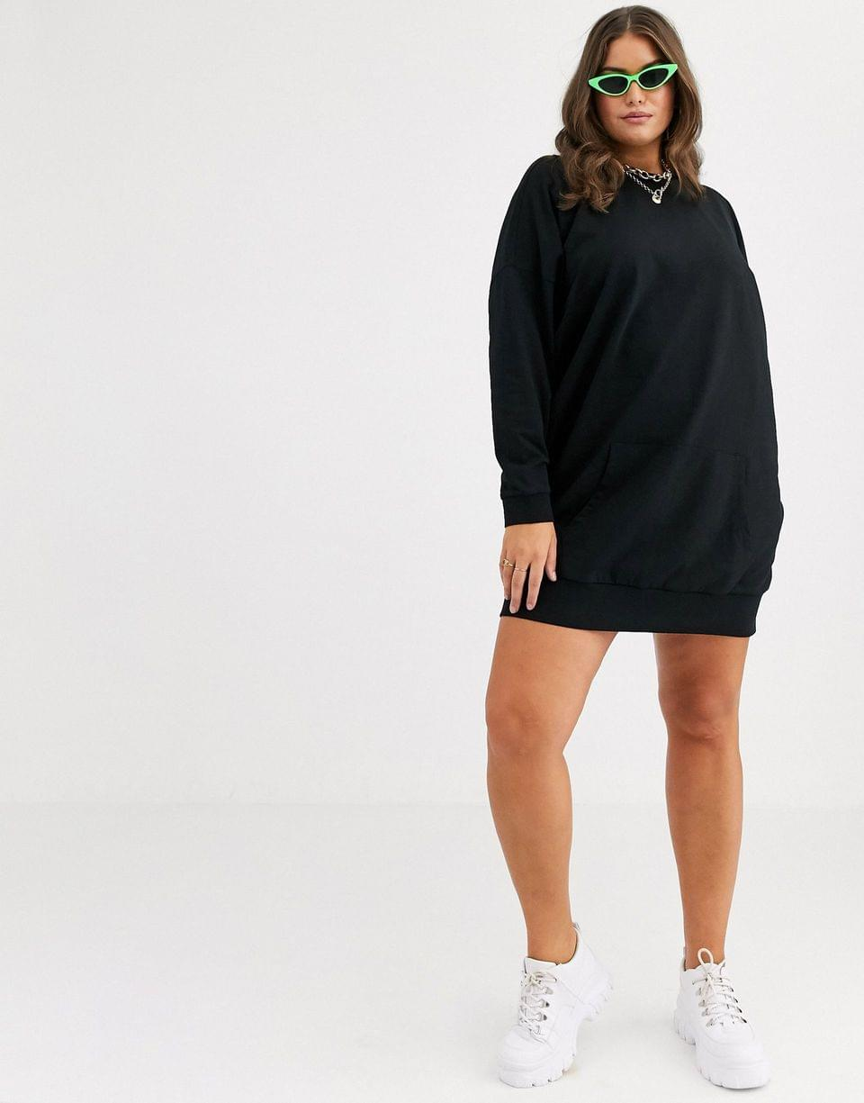 Women's Curve sweat dress with front pocket