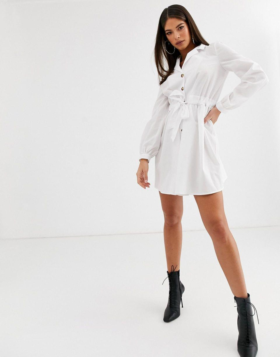 Women's Tall button through mini cotton shirt dress with ruched waist