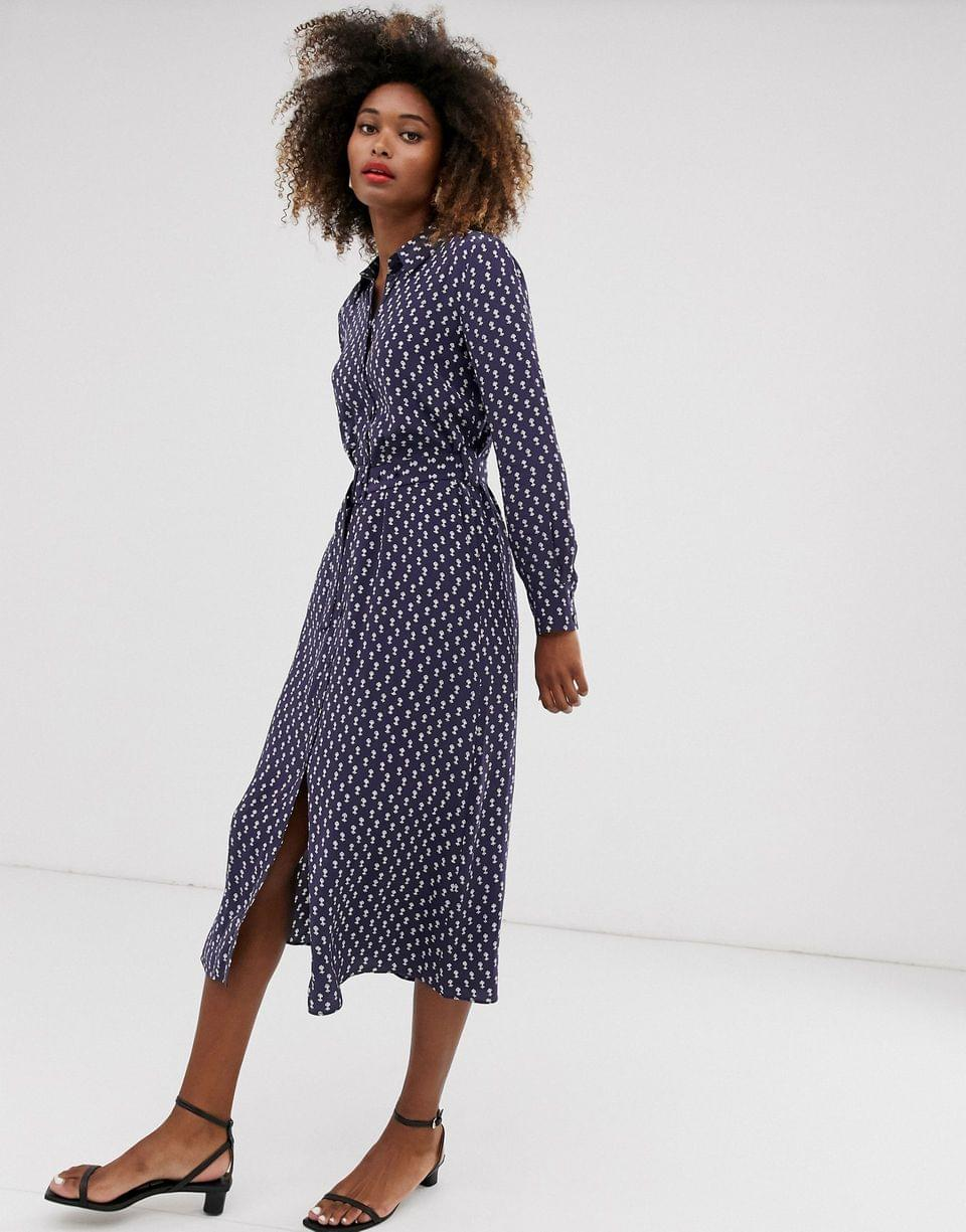 Women's & Other Stories shirt dress with blue floral print