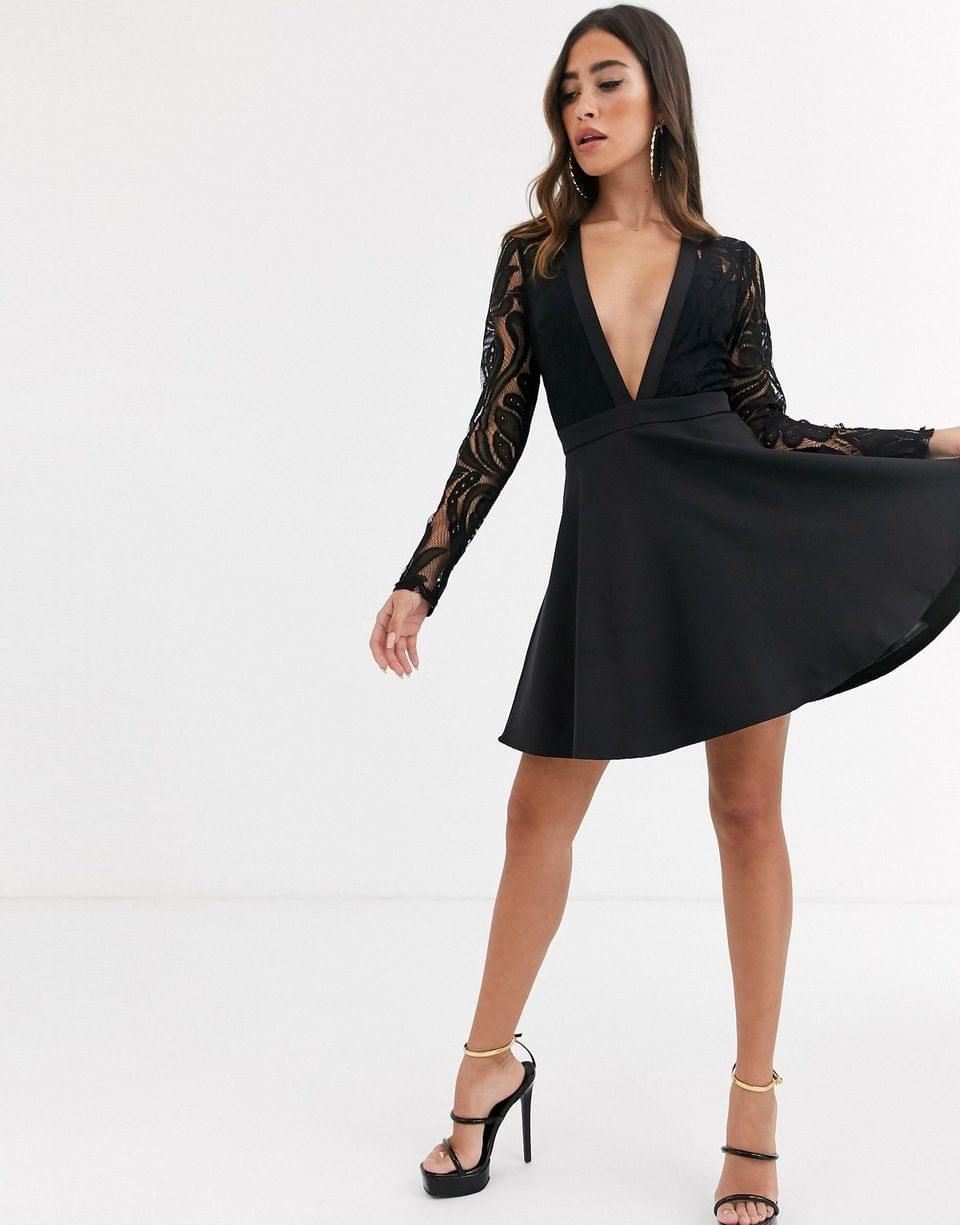 Women's Missguided lace top skater dress in black
