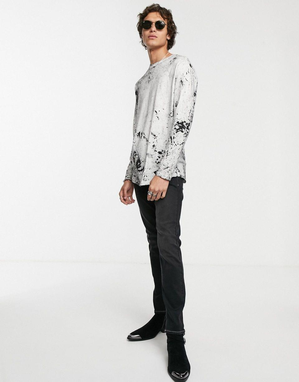 Men's organic cotton relaxed longline long sleeve shirt with curved hem in white tie-dye wash
