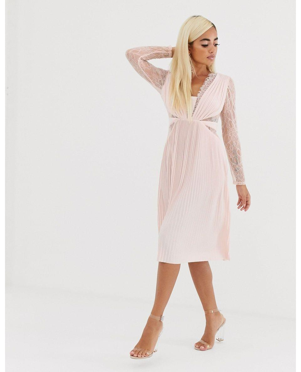 Women's Petite lace and pleat long sleeve midi dress