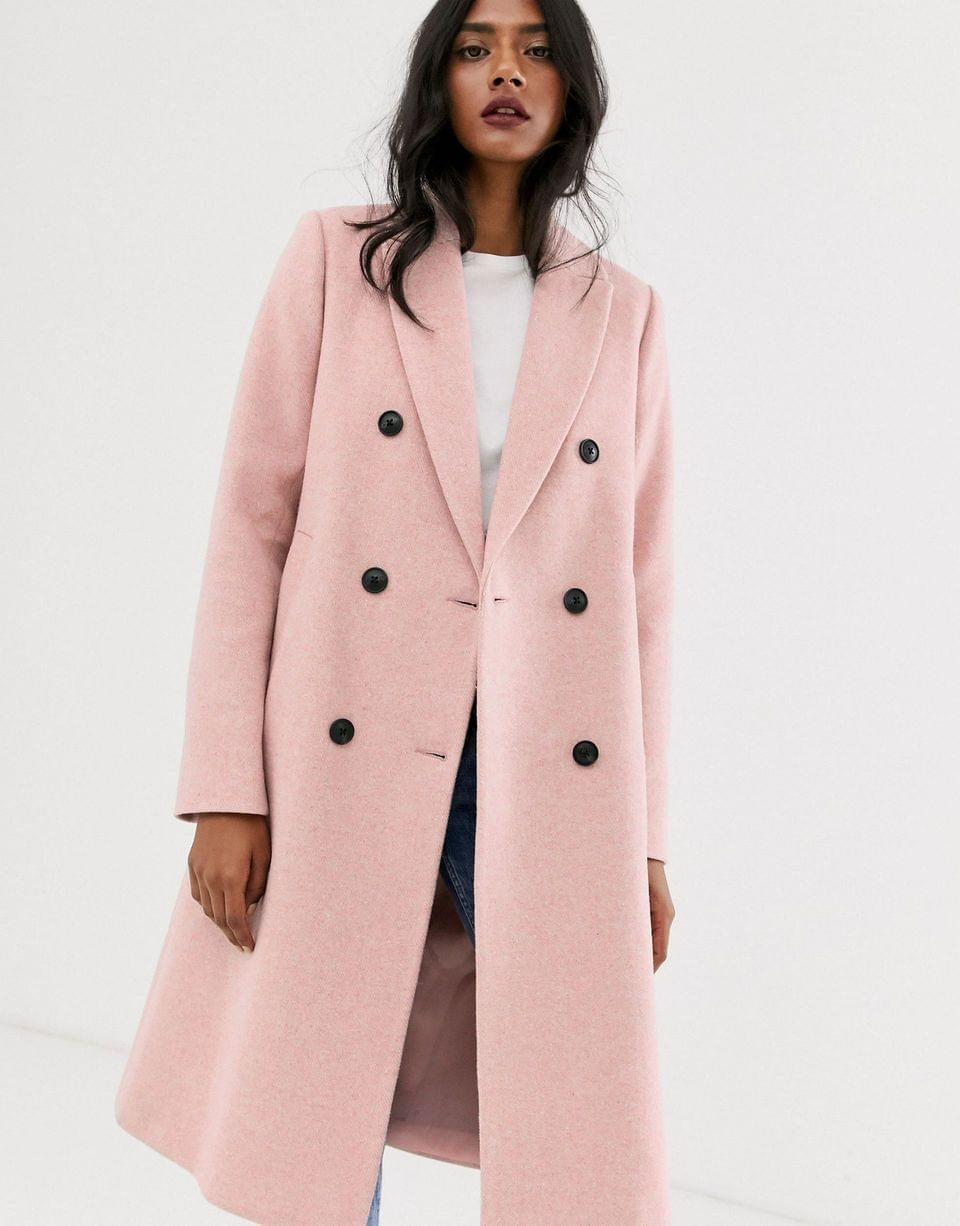 Women's Stradivarius double breasted long coat in pink