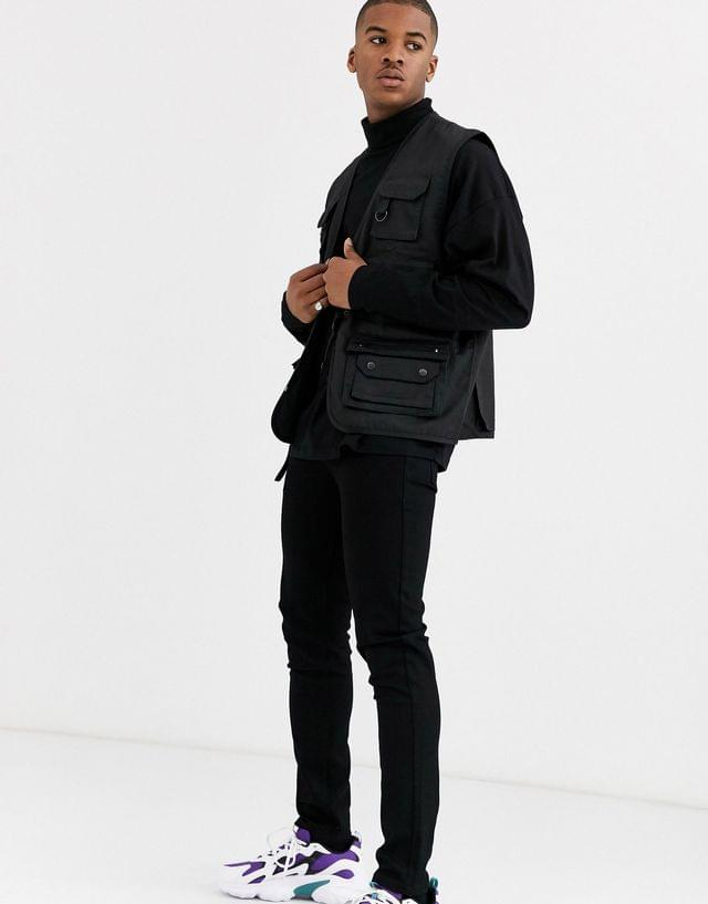 MEN oversized long sleeve t-shirt with roll neck in black