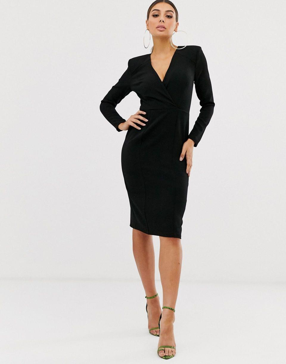 Women's long sleeve plunge wrap midi dress