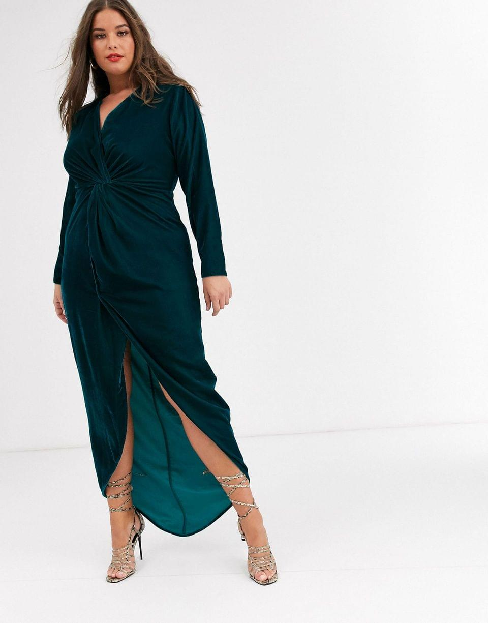 Women's Curve long sleeve maxi dress with knot front bodice in velvet