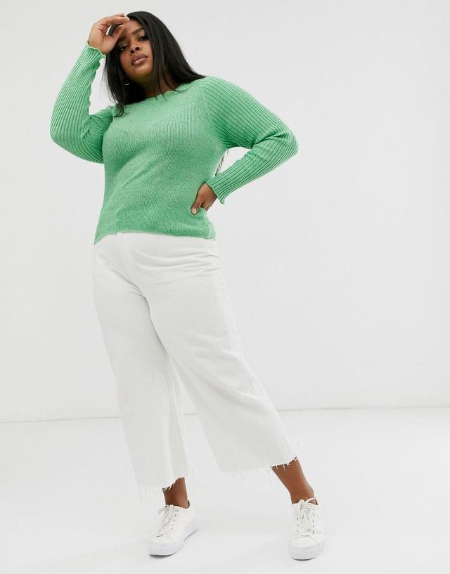 WOMEN Curve recycled blend crew neck sweater in skinny rib in twist