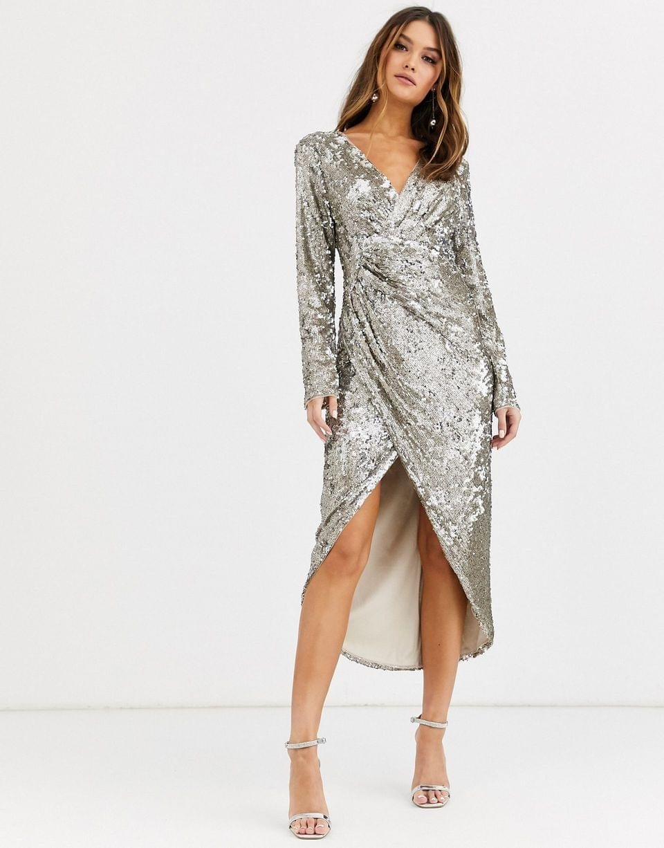 Women's TFNC long sleeve sequin wrap midi dress with front drape details in silver and gold