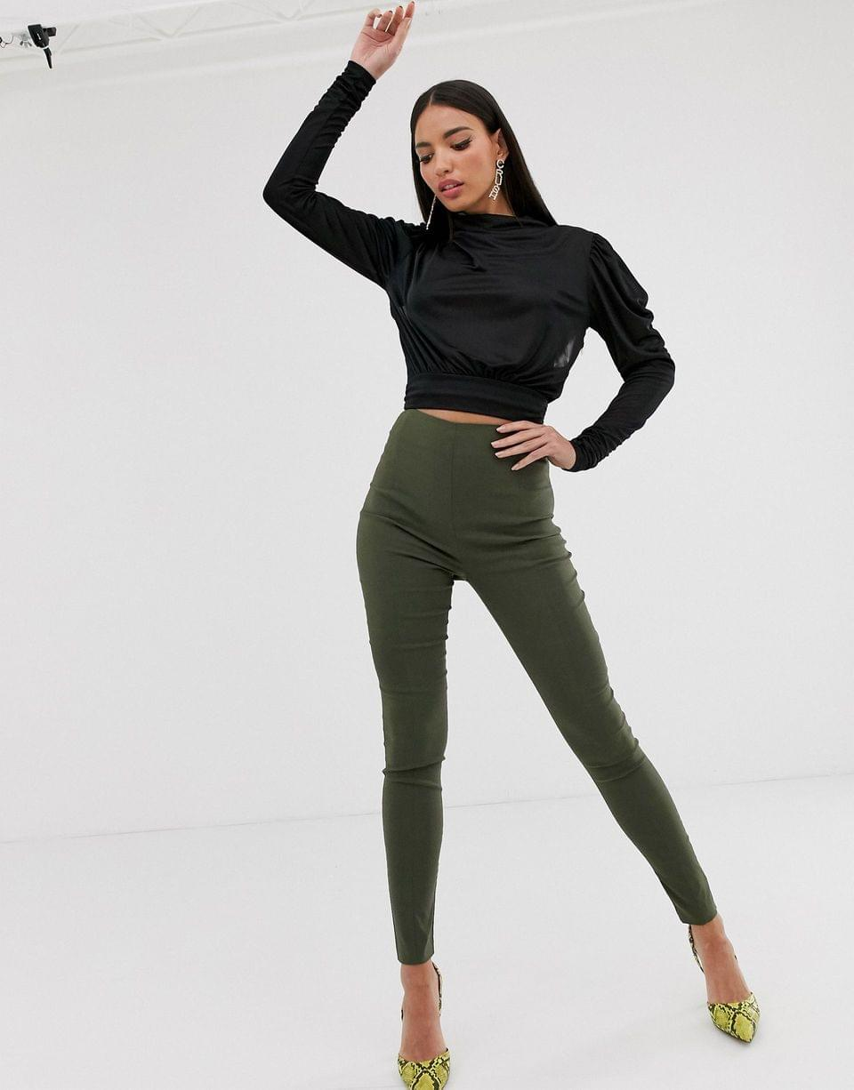 Women's Tall cowl neck long sleeve backless top in black