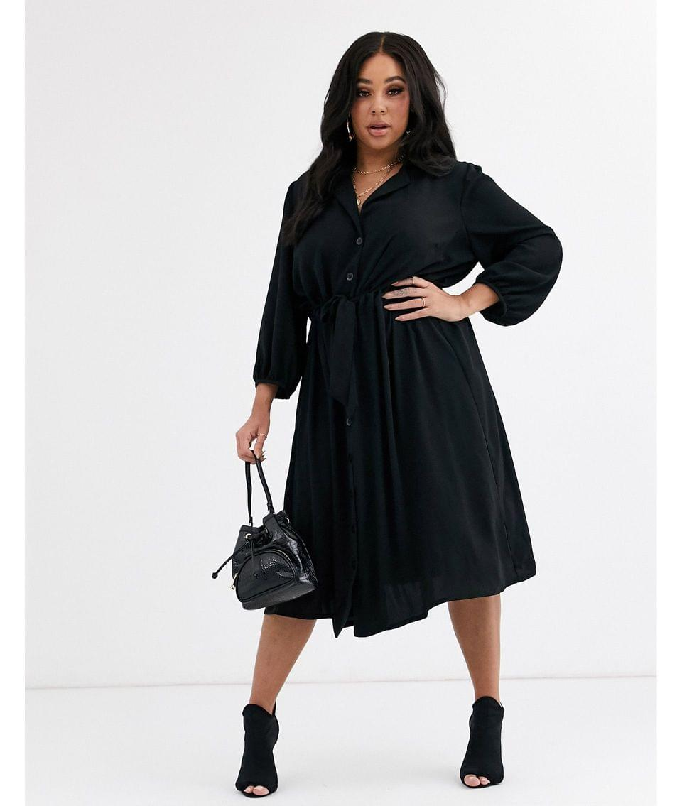 Women's Curve button through midi shirt dress with ruched waist
