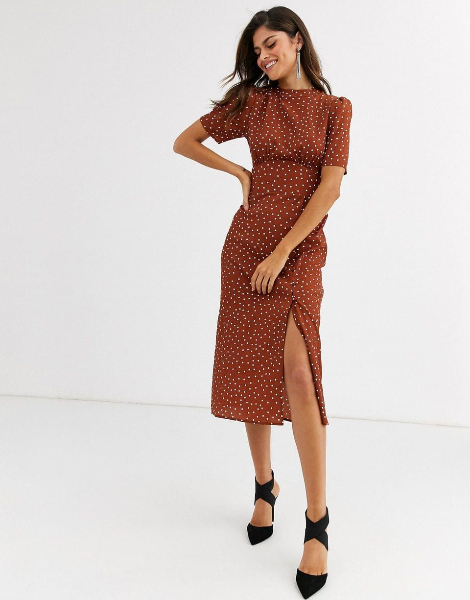 Women's midi tea dress with buttons in polka dot