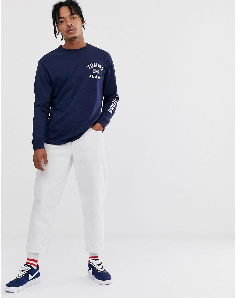 Men's Tommy Jeans americana long sleeve top in navy with flag logo and sleeve detail
