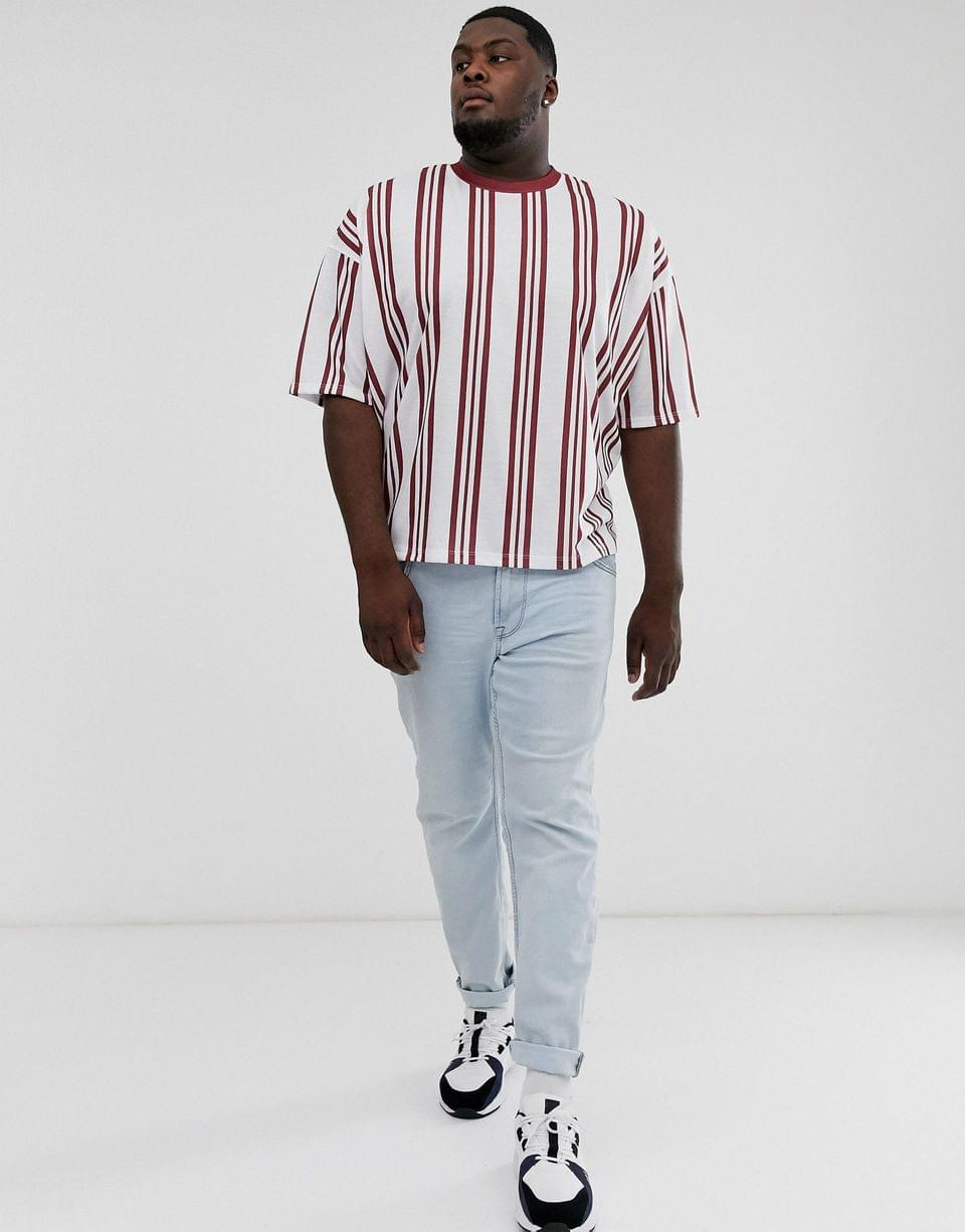 Men's Plus oversized vertical stripe t-shirt in red and white